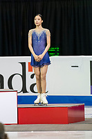KELOWNA, BC - OCTOBER 26: Ladies bronze medalist, Korean figure skater Young You stands on the podium during medal ceremonies of Skate Canada International held at Prospera Place on October 26, 2019 in Kelowna, Canada. (Photo by Marissa Baecker/Shoot the Breeze)