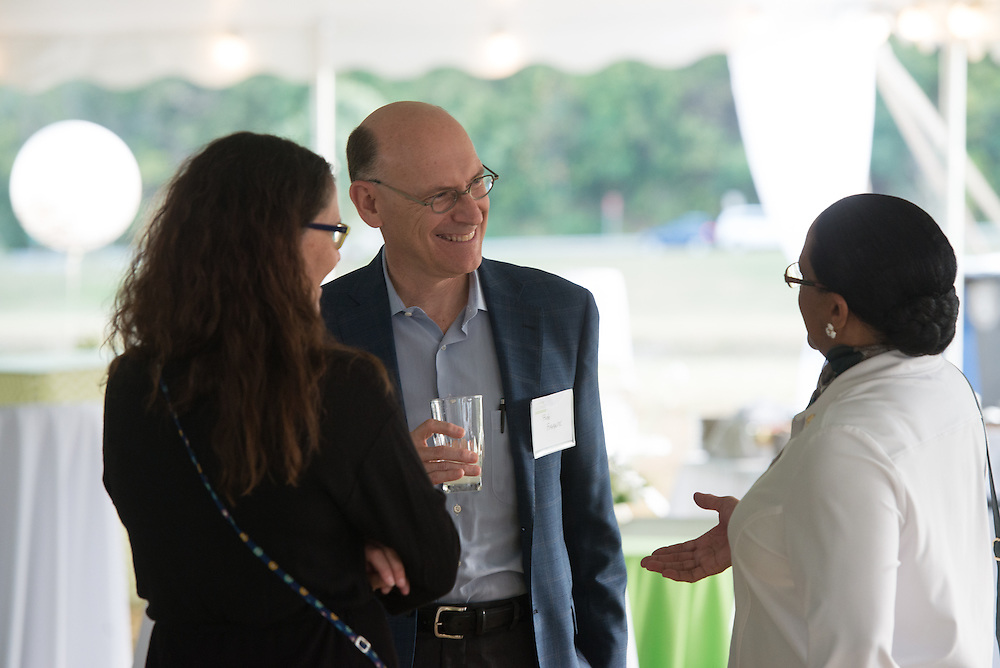 Deborah McDavis, right, speaks with Bob Franx and Jenn Bowie during the 2016 Black Alumni Reunion welcome reception held at Tailgreat Park on Thursday, September 15, 2016.