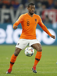 Georginio Wijnaldum of Holland during the UEFA Nations League A group 1 qualifying match between Germany and The Netherlands at the Veltins Arena on November 19, 2018 in Gelsenkirchen, Germany