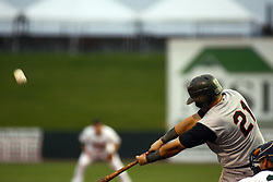 09 June 2011: Andrew Davis bats during a game between the Lake Erie Crushers and the Normal Cornbelters at the Corn Crib in Normal Illinois.