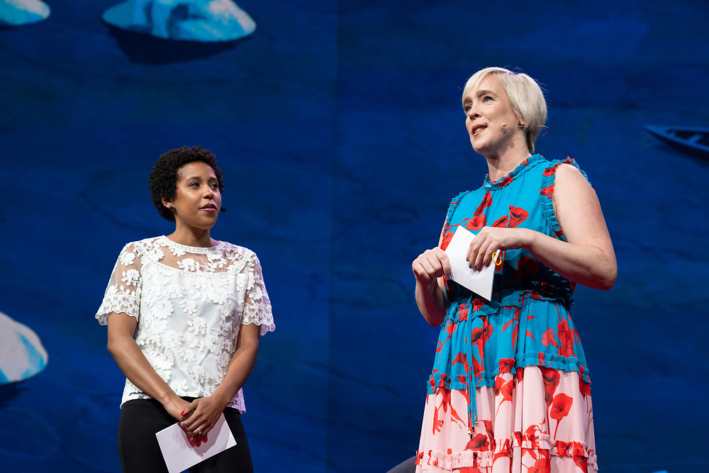 Hosts Whitney Pennington Rodgers and Helen Walters speak at TED2019: Bigger Than Us. April 15 - 19, 2019, Vancouver, BC, Canada. Photo: Bret Hartman / TED