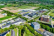 Nederland, Gelderland, Wageningen, 13-05-2019; Wageningen University & Research. Forum - Wageningen Campus, campus landbouw universiteit.<br /> <br /> luchtfoto (toeslag op standard tarieven);<br /> aerial photo (additional fee required);<br /> copyright foto/photo Siebe Swart