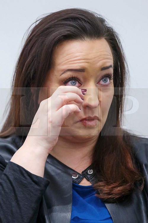© Licensed to London News Pictures. 27/03/2017. London, UK. US tourists Mellisa Payne Cochran's sister Angela weeps during a press conference at New Scotland Yard in Westminster, London on 27 March 2017. Mellisa's husband Kurt Cochran was one of five people killed and Mellisa Payne Cochran was one 40 people injured in the Westminster terror attack, when 52-year-old Briton Khalid Masood drove a car at pedestrians on Westminster Bridge. Photo credit: Tolga Akmen/LNP