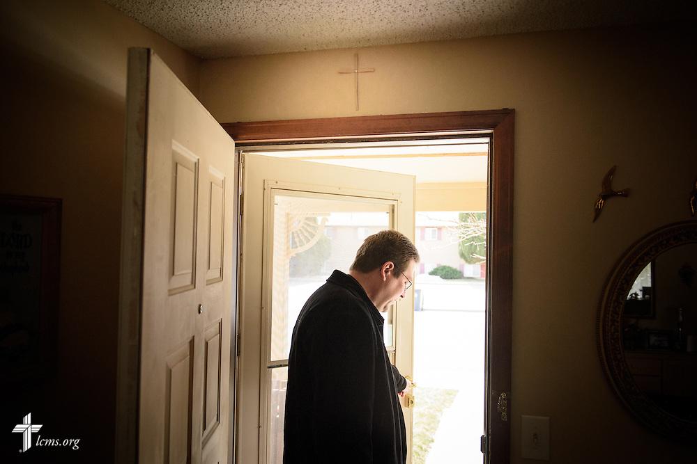 The Rev. Mark Nierman, pastor of Mount Olive Lutheran Church, leaves homebound member Hazel Dunn on Thursday, March 3, 2016, in Loveland, Colo. LCMS Communications/Erik M. Lunsford