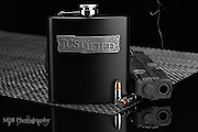 Justified Limited Edition Whiskey flask and smoking gun with hollow point bullets in selective color