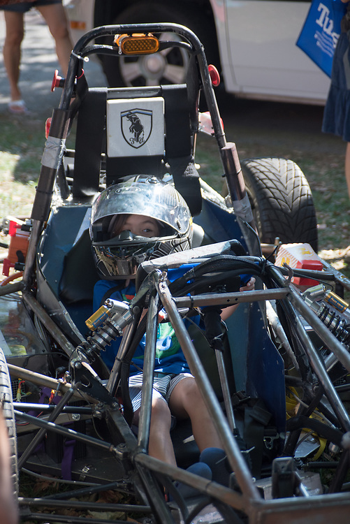 9/24/17 – Medford/Somerville, MA – Child gets on a kart during Tufts Community Day on September 24. (Seohyun Shim / The Tufts Daily)
