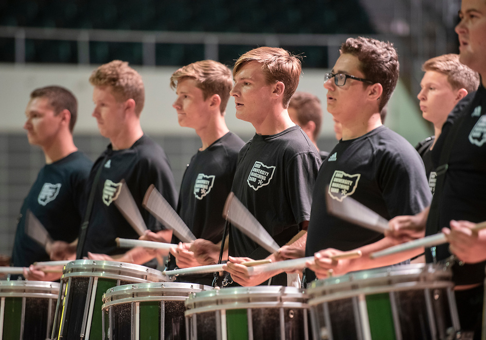 The Marching 110 Drumline performs during the 2019 First Year Convocation. Photo by Hannah Ruhoff