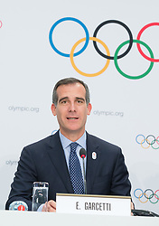 LAUSANNE, July 11, 2017  Eric Garcetti, Mayor of Los Angeles, attends a press conference after the presentation of the Los Angeles 2024 Candidate City Briefing for International Olympic Committee (IOC) members at the SwissTech Convention Centre, in Lausanne, Switzerland, July 11, 2017. (Credit Image: © Xu Jinquan/Xinhua via ZUMA Wire)