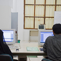Cours d'informatique a l'Institut des Telecomunications dans le cadre d'une formation professionelle...Computer classes at the Telecom institute.