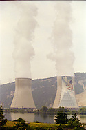 Jean-Marie Pierret mural on the EDF Cruas Meysse French Nuclear Power Station, next to the Rhone river, France, August 1996