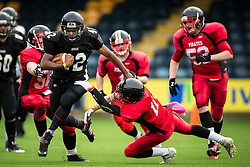 Kent Exiles running back dodges a tackle - Mandatory by-line: Jason Brown/JMP - 27/08/2016 - AMERICAN FOOTBALL - Sixways Stadium - Worcester, England - Kent Exiles v East Kilbride Pirates - BAFA Britbowl Finals Day