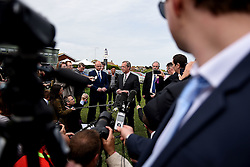 © London News Pictures. 08/05/2015. UKIP leader Nigel Farage is surrounded by media as he announces his resignation outside the The Botany Bay hotel in Broadstairs, Kent after being failing in his bid to be elected as an MP in the constituency of South Thanet. Photo credit: Mary Turner/LNP