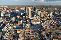 Aerial view of Minneapolis including construction on the new Twins stadium site in October '07.