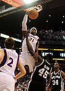 Nov. 3 2010; Phoenix, AZ, USA; Phoenix Suns forward Hakim Warrick (21) puts up a basket during the first half against San Antonio Spurs forward DeJuan Blair (45) at the US Airways Center. Mandatory Credit: Jennifer Stewart-US PRESSWIRE.