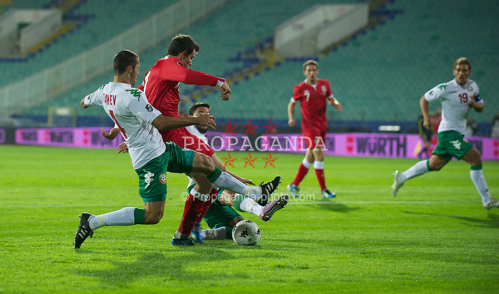 SOFIA, BULGARIA - Tuesday, October 11, 2011: Wales' Gareth Bale in action against Bulgaria during the UEFA Euro 2012 Qualifying Group G match at the Vasil Levski National Stadium. (Pic by David Rawcliffe/Propaganda)