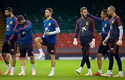 CARDIFF, WALES - Wednesday, October 10, 2018: Spain's captain Sergio Ramos (L) and goalkeeper David de Gea during a training session at the Principality Stadium ahead of the International Friendly match between Wales and Spain. (Pic by David Rawcliffe/Propaganda)