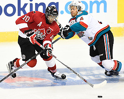 Action from the opening game of the 2015 MasterCard Memorial Cup between the Quebec Remparts and Kelowna Rockets at the Pepsi Colisee in Quebec City. Photo by Aaron Bell/CHL Images