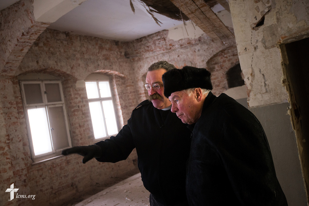 LCMS President Rev. Dr . Matthew C. Harrison tours the Old Latin School renovation with Rev. Dr. Jobst Schöne, bishop emeritus of the Independent Evangelical Lutheran Church (SELK) of Germany,  on Wednesday, Jan. 29, 2014, in Wittenberg, Germany. LCMS Communications/Erik M. Lunsford
