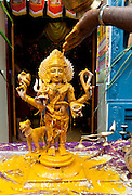Bhairava, is the fierce manifestation of Shiva associated with annihilation and has a dog as his divine vahana (vehicle).Festival at small Hindu temple off Jampettah Street.