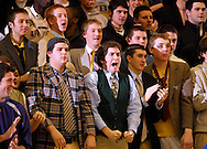 5 FEB. 2010 -- TOWN AND COUNTRY, MO. -- Fans from CBC High School cheer for their team  during the player introductions at the game between CBC and Chaminade at CBC High School in Town and Country, Mo. Friday, Feb. 5, 2010. Photo (c) copyright by Sid Hastings.