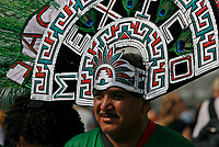 Photo: Glyn Thomas.<br />Germany v Costa Rica. Group A, FIFA World Cup 2006. 09/06/2006.<br /> A Mexican fan with an elaborate headress of peacock feathers at the opening game in Munich.