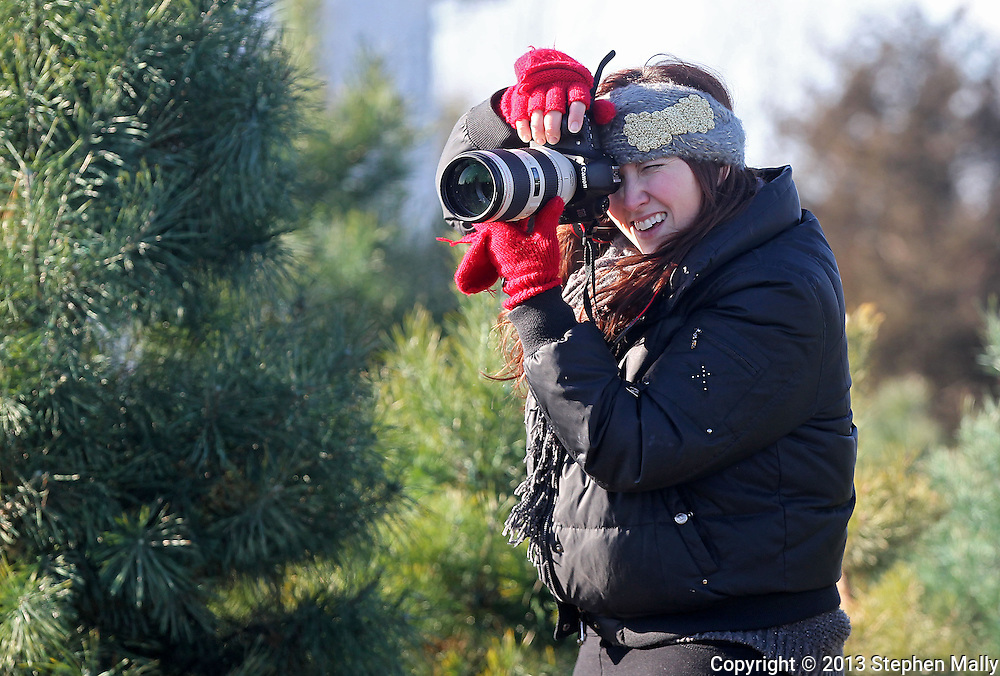 Robyn Rasmussen of Ruby Ellen Photography shoots a family session at Barnes Tree Farm in Iowa City on December 7, 2013.
