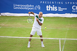 LIVERPOOL, ENGLAND - Saturday, June 20, 2015: Mansour Bahrami (IRN) during Day 3 of the Liverpool Hope University International Tennis Tournament at Liverpool Cricket Club. (Pic by David Rawcliffe/Propaganda)