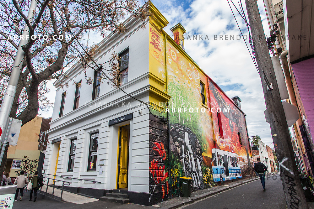 The front facade of the Charcoal Lane restaurant and the Mural created by Aboriginal artist Robert Young on Gertrude Street in Melbourne, Australia, September 1, 2017. The Charcoal Lane building was once a Aboriginal community health centre. Asanka Brendon Ratnayake for the New York Times