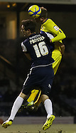 Picture by David Horn/Focus Images Ltd +44 7545 970036.11/12/2012.Luke Prosser of Southend United and Andy Bishop of Bury during the The FA Cup match at Roots Hall, Southend.