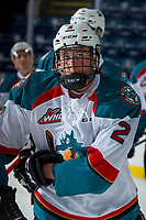 KELOWNA, CANADA - SEPTEMBER 2: Defenseman Cayde Augustine #2 of the Kelowna Rockets skates against the Victoria Royals on September 2, 2017 at Prospera Place in Kelowna, British Columbia, Canada.  (Photo by Marissa Baecker/Shoot the Breeze)  *** Local Caption ***