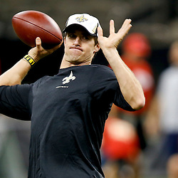 Aug 9, 2013; New Orleans, LA, USA; New Orleans Saints quarterback Drew Brees (9) before a preseason  game against the Kansas City Chiefs at the Mercedes-Benz Superdome. Mandatory Credit: Derick E. Hingle-USA TODAY Sports