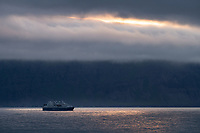 Ocean Diamond, a Cruise ship sailing at Seyðisfjarðarflói, East fiords of Iceland.