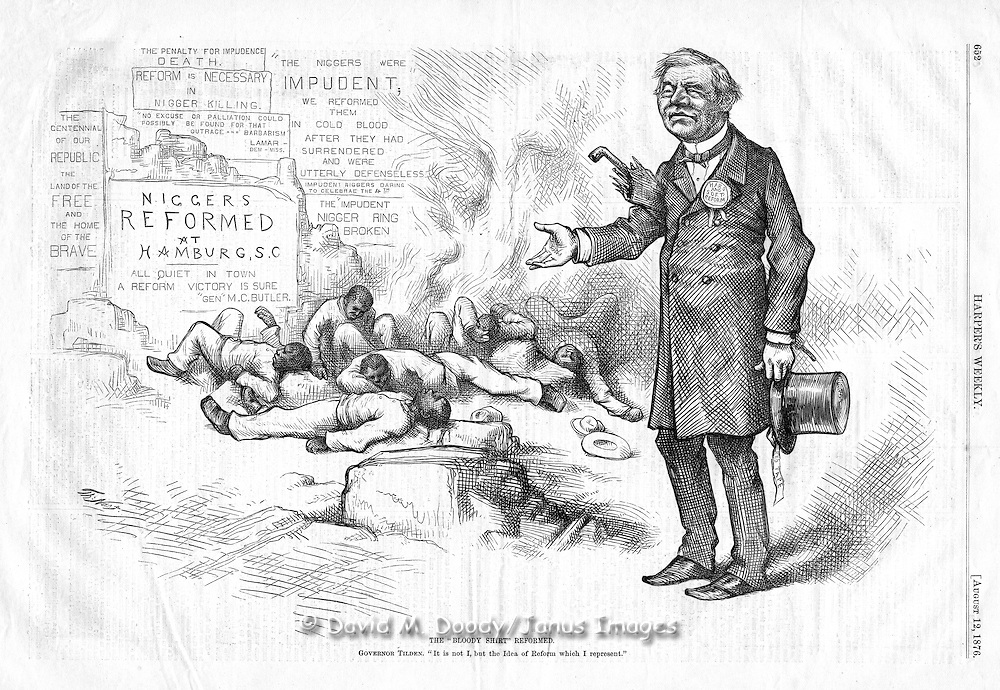 """The Bloody Shirt Reformed"" Governor Tilden: ""It is not I but the Idea of Reform which I represent"" Murders and suppression of blacks in the post Civil War South. Harper's Weekly 1876"