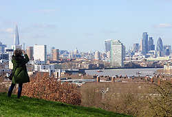 © Licensed to London News Pictures. 09/03/2017<br /> A view across London from Greenwich Park.<br /> Sunny spring weather at Greenwich Park, Greenwich, London.<br /> Photo credit :Grant Falvey/LNP