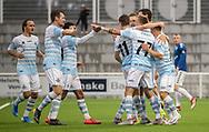 FC Helsingørs spillere jubler efter scoringen til 1-0 under kampen i 2. Division mellem FC Helsingør og Holbæk B&I den 6. september 2019 på Helsingør Ny Stadion (Foto: Claus Birch).