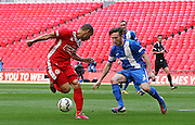 North Shields Denver Morris back kick attacking the goal during the FA Vase Final between Glossop North End and North Shields at Wembley Stadium, London, England on 9 May 2015. Photo by Phil Duncan.