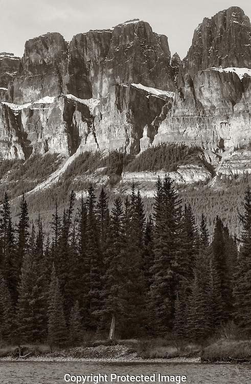 Castle Mountain in black and white., Alberta, Canada, Isobel Springett