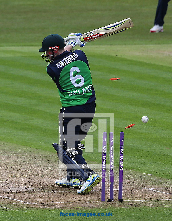 William Porterfield of Ireland is bowled out by Mark Wood of England during the One Day International match at the Village, Malahide<br /> Picture by Lorraine O'Sullivan/Focus Images Ltd +353 872341584<br /> 08/05/2015