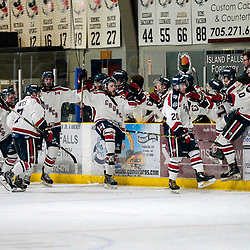 COCHRANE, ON - MAY 1: The Cochrane Crunch bench celebrates a goal on May 1, 2019 at Tim Horton Events Centre in Cochrane, Ontario, Canada.<br /> (Photo by Christian Bender / OJHL Images)