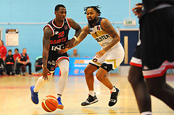 Jalan McCloud of Bristol Flyers jostles with Darell Combs of Worcester Wolves - Photo mandatory by-line: Nizaam Jones/JMP- 24/11/2018 - BASKETBALL - SGS Wise Arena - Bristol, England - Bristol Flyers v Worcester Wolves - British Basketball League Championship