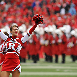Sep 12, 2009; Piscataway, NJ, USA;  Rutgers cheerleaders pump up the crowd before Rutgers' 45-7 victory over Howard in NCAA College Football at Rutgers Stadium.