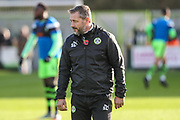 Forest Green Rovers assistant manager, Scott Lindsey watches the warm up during the The FA Cup match between Forest Green Rovers and Macclesfield Town at the New Lawn, Forest Green, United Kingdom on 4 November 2017. Photo by Shane Healey.