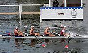 Henley on Thames, England, United Kingdom, Sunday, 07.07.19, Harvard University, U.S.A., crossing the line, to win the Prince Albert Challenge Cup, Henley Royal Regatta,  Henley Reach, [©Karon PHILLIPS/Intersport Images]<br /> <br /> 11:47:25 1919 - 2019, Royal Henley Peace Regatta Centenary,