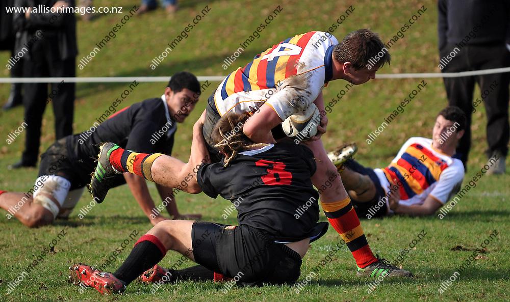 Waitaki Boys 1st XV v John McGlashan College 1st XV rugby match, John McGlashan College, Dunedin, Otago, New Zealand, Saturday, May 25, 2013. Credit:Joe Allison / Allison Images