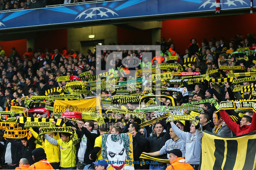 Borussia Dortmund fans during the UEFA Champions League match against Arsenal at the Emirates Stadium, London<br /> Picture by Richard Calver/Focus Images Ltd +447792 981244<br /> 26/11/2014