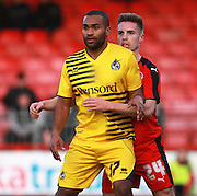Crawley Town defender Mitch Hancox keeps tight to Bristol Rovers striker Jermaine Easter during the Sky Bet League 2 match between Crawley Town and Bristol Rovers at the Checkatrade.com Stadium, Crawley, England on 21 November 2015. Photo by Bennett Dean.