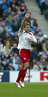 Photo. Andrew Unwin, Digitalsport..<br /> Manchester City v Southampton, FA Barclaycard Premier League, City of Manchester Stadium, Manchester 17/04/2004.<br /> Southampton's James Beattie celebrates scoring his team's first goal.