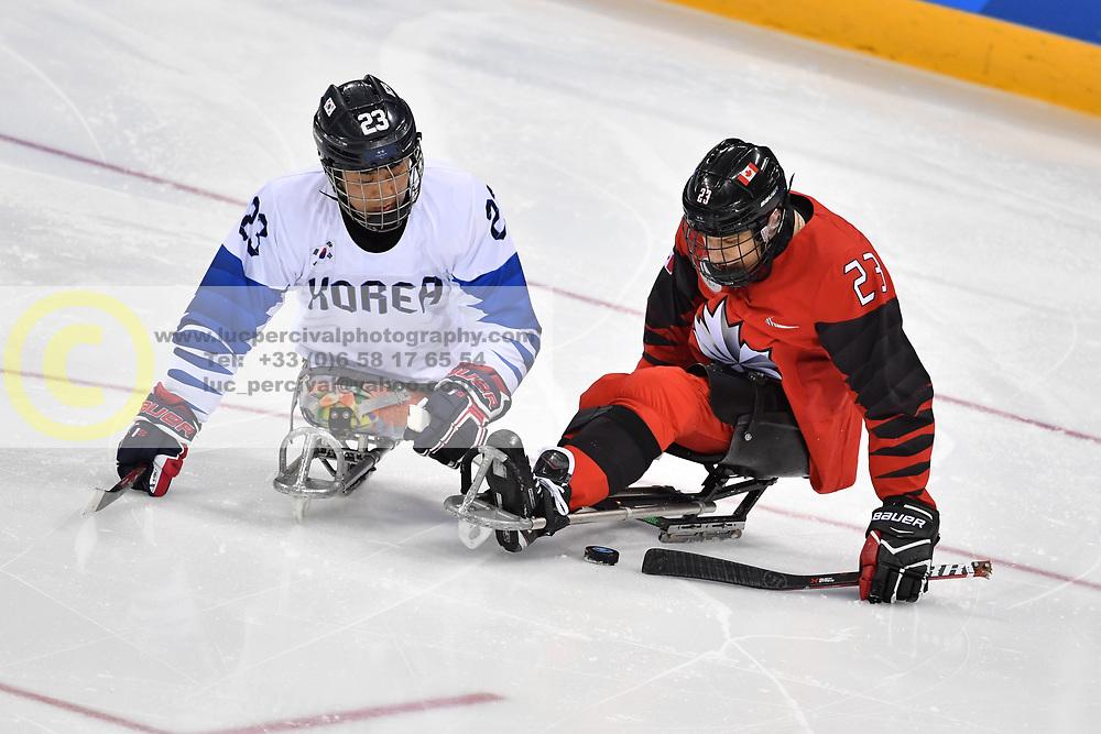 Korea V Canada in the Para Sledge Hockey at  the PyeongChang2018 Winter Paralympic Games, South Korea.