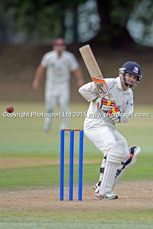 Auckland batsman Brad Cachopa in action. Plunket Shield. 4 Day match between Auckland and Northern Districts at Colin Maiden Park in Auckland. New Zealand. Sunday 08 February 2015. Copyright Photo: Raghavan Venugopal/www.photosport.co.nz