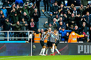 Ayoze Perez (#17) of Newcastle United celebrates Newcastle United's second goal (2-2) with Newcastle United team mates during the Premier League match between Newcastle United and Everton at St. James's Park, Newcastle, England on 9 March 2019.